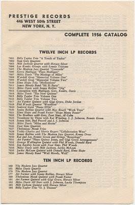 [Prestige Records Catalog 1956]