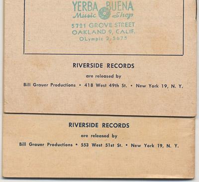 [Riverside Records Catalogs Back]