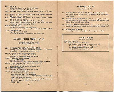 [Riverside Records Catalog Fall 1957]