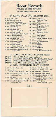 [Roost Records Catalog 1955?]