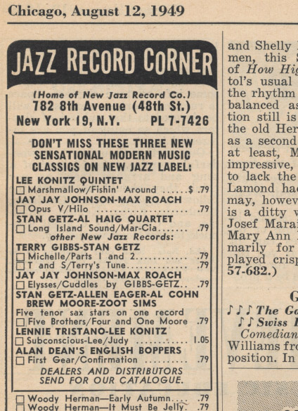 [Down Beat Aug 12 1949]