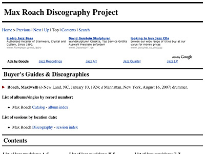 [Jazz Discography Project: Max Roach]