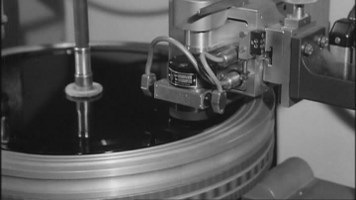[78 rpm lacquer ready on the cutting lathe]