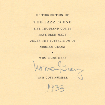[Norman Granz signs here]