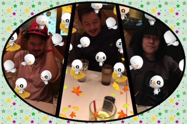 ファンクラ大臣さん、ファンクさん、サイモンガーさん (2015年11月7日、娘による撮影・コラージュ)